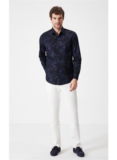 Boris Becker Gömlek Yaka Uzun Kol Çiçek Desen Erkek Gömlek Lacivert
